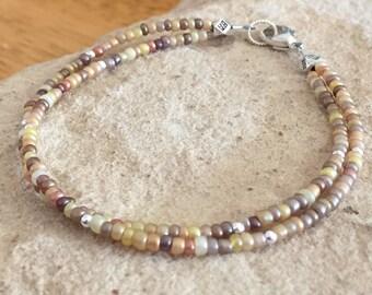 Amber double strand seed bead bracelet, sterling silver bracelet, fall bracelet, minimalist bracelet, boho bracelet, gift for her
