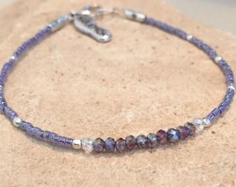 Purple bracelet, bracelet for runner, athletic bracelet, seed bead bracelet, sterling silver bracelet, marathon charm, gift for runner