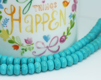 Turquoise Rondelle beads  8 x 5 mm / Turquoise gemstone disc beads / Blue Turquoise Beads for Jewellery Making