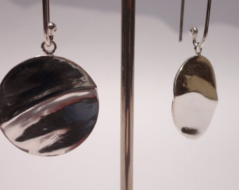 Rippled Sterling Silver Earrings - Sterling Silver Jewellery - Sterling Silver Textured Discs - Paisley Daze Designs