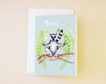 Relaxing Lemur Birthday Card, Meditating Lemur Greeting Card, Congratulations On Your Results Card, Funny Illustrated Lemur Card