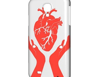 Samsung Galaxy Covers. S7, S6, S5, Phone Cases, Phone Covers. Handmade gifts, Handmade items. Anatomical Heart, Heart Print.