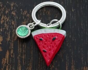 Watermelon Keychain, Custom Keychain, Custom Key Ring, Watermelon Key Chain, Watermelon Charm, Watermelon Pendant, Watermelon Jewelry, Fruit