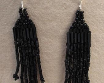 Jet Black  Fringe Earrings