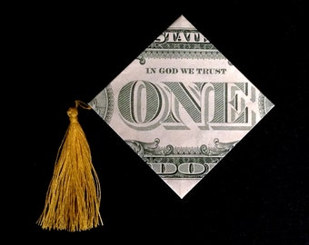 GRADUATION CAP Money Origami Art Gift Made out of Real 1 Dollar Bill