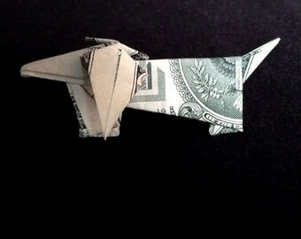 Dachshund DOG Art Gift Money Origami Made out of Real One Dollar Bill Banknote