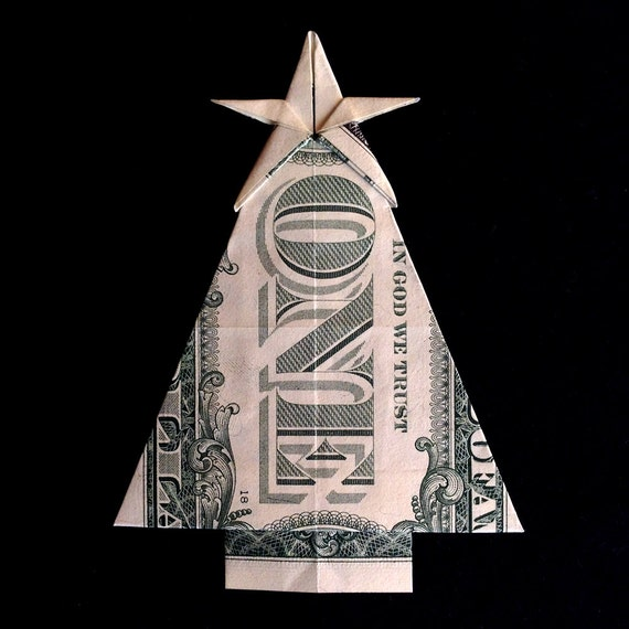 Dollar Bill Origami Christmas Tree: CHRISTMAS TREE With Star Gift Money Origami Made By