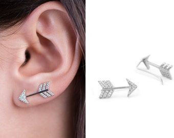Sterling Silver or Gold with Cubic Zirconia Arrow Ear Climber Earrings