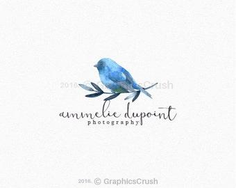 Watercolor Bird Logo Design Blue Watercolor Bird Logo Blue Bird Logo Branch Logo