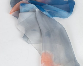 Hand painted silk chiffon scarf with blue and peach flowers/ Long abstract scarf/ Silk painting/ Unique handmade gift/ Birthday gift for mom