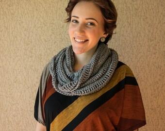Spring Infinity Scarf, gray, crochet