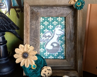 Rustic Barnwood Picture Frame with Turquoise and Burlap Flowers
