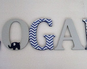 Wood Letters-Nursery Decor- Navy Blue & Grey Elephant theme- Price Per Letter-Custom made -Other Colors available