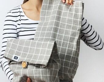 Linen lunch bag for women, linen lunch bag, adult lunch bag, linen fabric storage basket