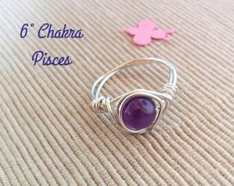 Amethyst Ring,Silver Ring,Handmade Amethyst Wire Ring,Custom Ring,Wire Ring,Silver Wire Ring,Wire Wrapped Ring,Bohemian Ring, Silver