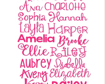 Personalized Name or Word Decal, Girly Fonts