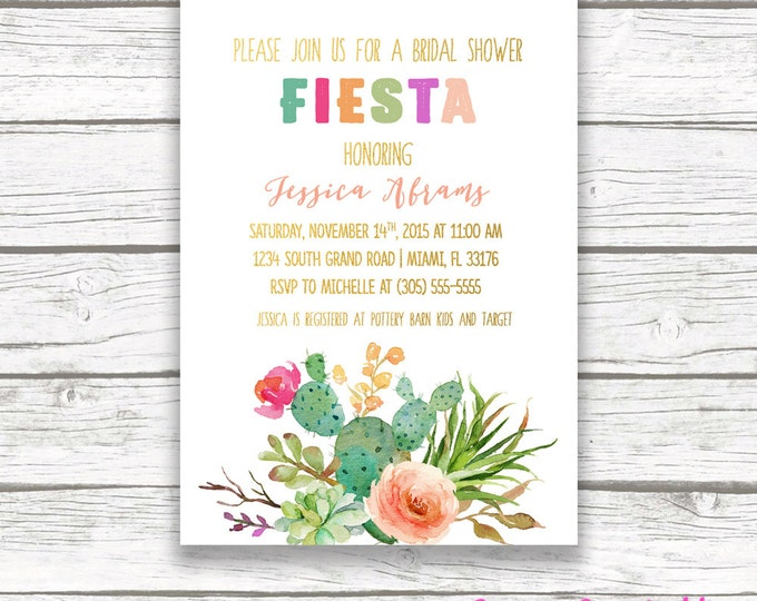 Fiesta Bridal Shower Invitation, Cactus Bridal Shower Invitation, Mexican Cinco de Mayo Invite, Wedding Shower, Floral Succulent Printable