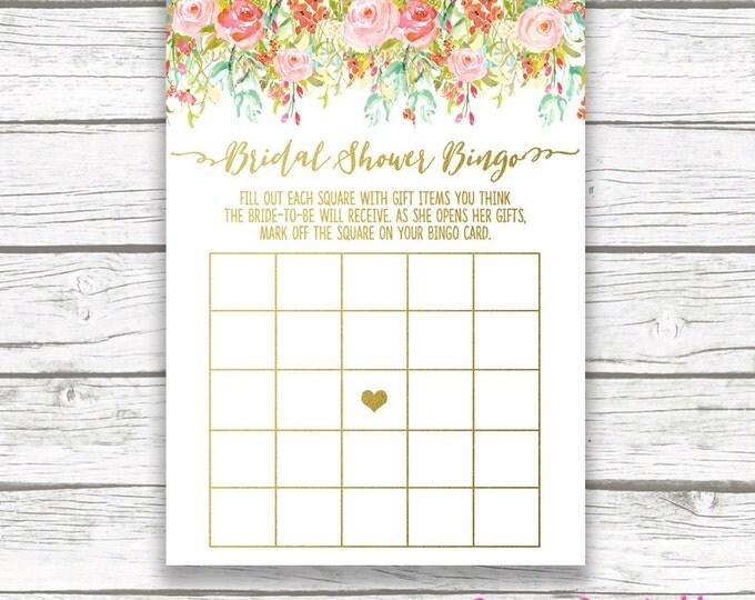 Floral Gold Foil Bridal Shower Bingo Game Printable, Spring Mint Pink Flower Garden, Pink Rose Bridal Bingo, Bridal Shower Games Card