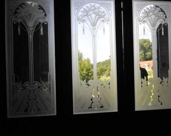 Antique French Art Deco Etched Glass Doors Original Set of Three Circa 1900 #5539