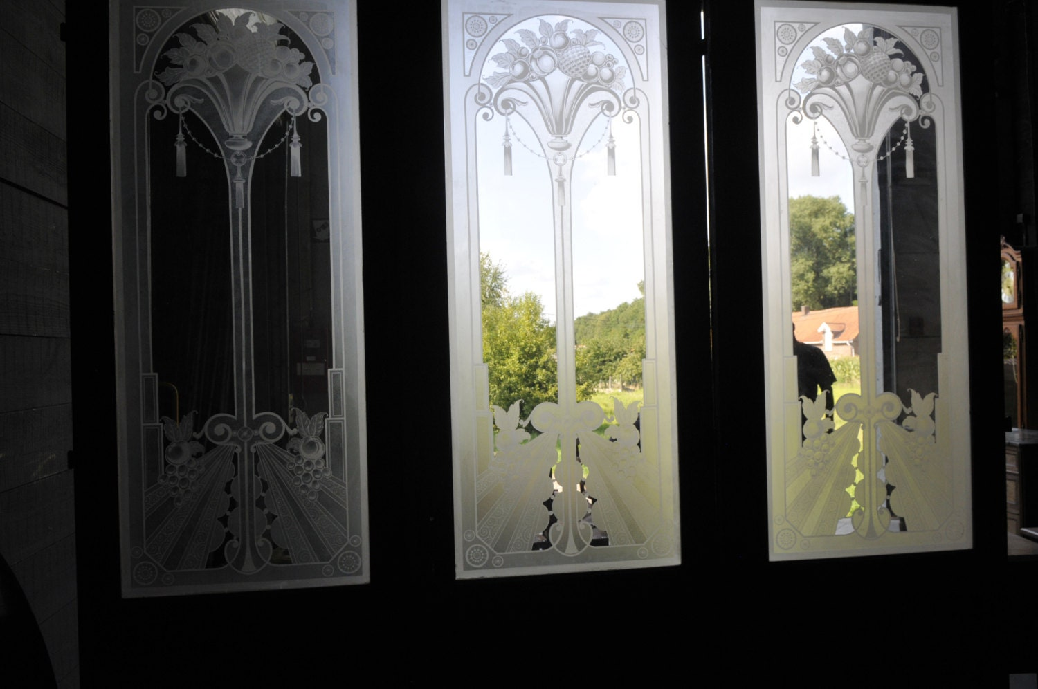 Antique french art deco etched glass doors original set of three sold by thegatz sciox Images