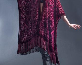 Bordeaux Velvet Burnout Kimono