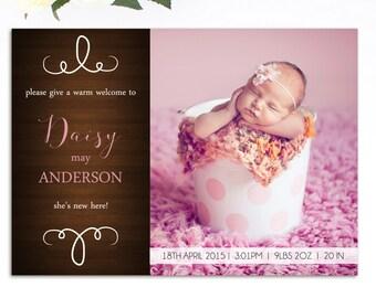 Girl Birth Announcement - Printable Birth Announcement - Baby Girl Birth Announcement - Birth Announcement - Come Say Hi - Pink -Rustic