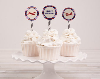 Airplane Party, Airplane Birthday, Airplane Cupcake Toppers, Airplane Favor Tags, Vintage Airplane, Airplane Party Decor, INSTANT DOWNLOAD