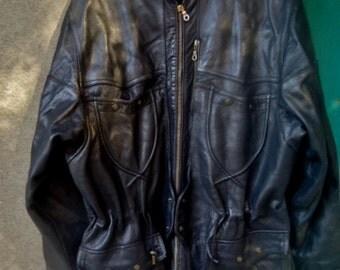 Belle  veste vintage   Homme  cuir noir ,veste  style motard , veste cuir buffle
