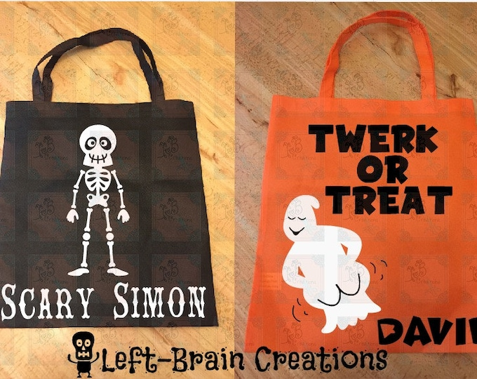 Halloween Bags, Spooky Bags, Twerk or Treat, Candy Bags, Personalized Bags totes, treats