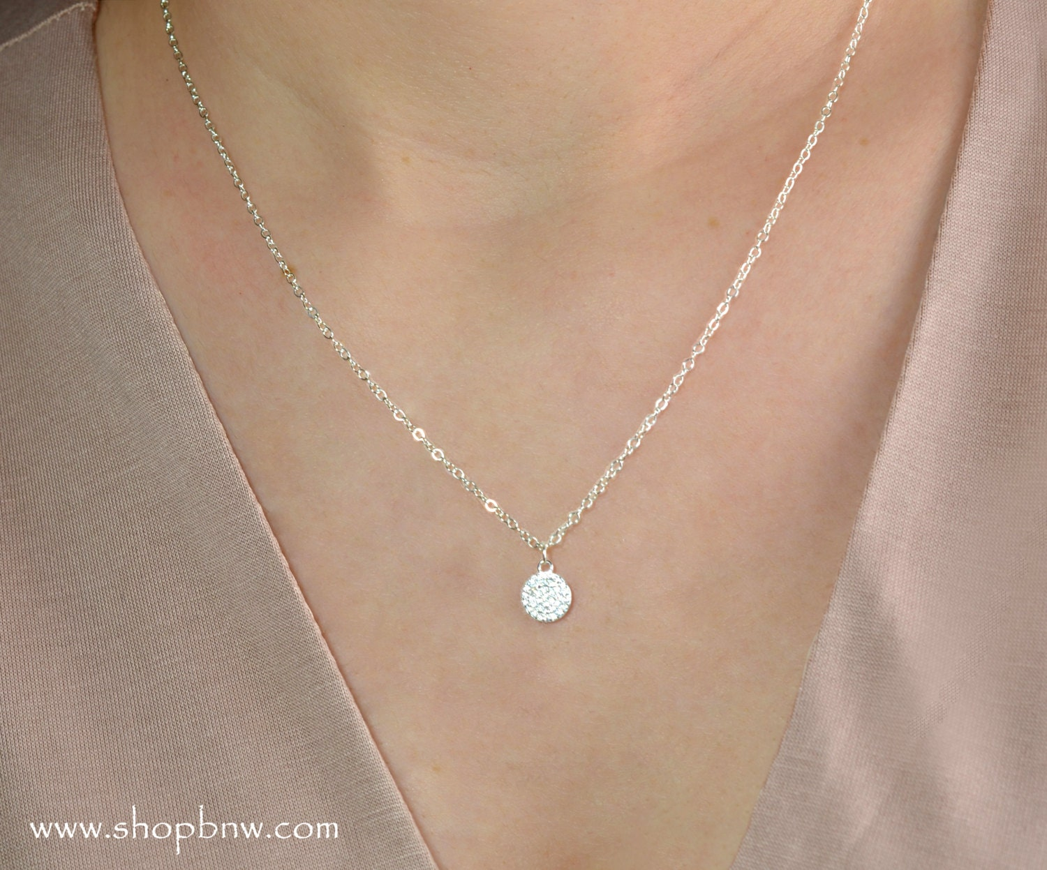 Diamond Pave Circle Necklace Pave Disc Circle Cz Sterling