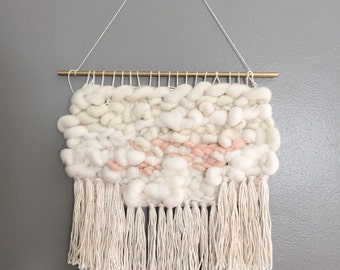 Fluffy Cream and Peachy Cloud Woven Wall Hanging