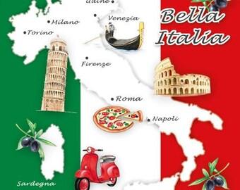 Italy NAPKINS - Italian Napkins - Pizza Napkins - Italian Food Napkins - Italia Napkins, Italian Flag Napkins, Bella Italia Napkins