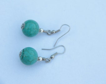 Earrings green-blue