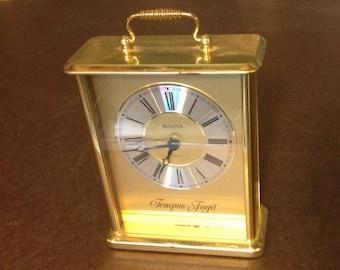 Vintage Bulova Quartz Tempus Fugit German Desk Clock - Polished Metal Mantle Clock Vintage Decor