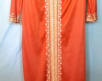 1970's intricate, embellished caftan with side slits, size medium