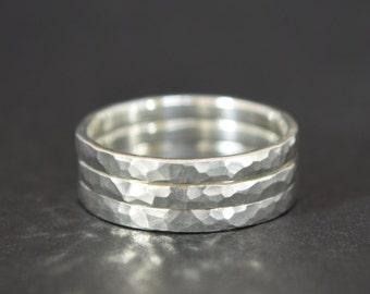 Silver Stacking Rings - Hammered Stacking Rings - Stacking Rings UK - UK Handmade