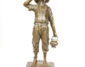 "Paul Dubois Bronze Sculture ""Jewish Water Carrier"""