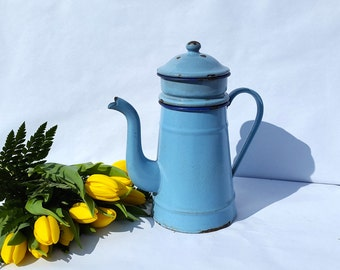 French enamel blue coffee pot/ antique vintage enamelware / Cottage chic /