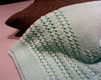 Knit Mint Green Lace Baby Blanket