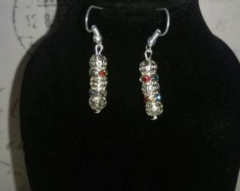 Earrings dangle earrings drop earrings silver plated filigree beads and sparkle spacers earrings stunning earrings multicolored earrings
