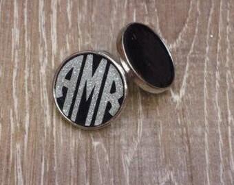 Monogram Earrings, Black, Silver