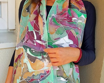 """Hand Painted Silk Scarf, Bordoaux, Different nuances of green, Black, White Color, Unique Handmade Scarf, Silk scarf 60""""x 11"""", Made to order"""