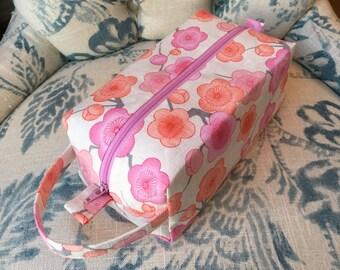 Japanese Plum Blossom Knitting/Crochet Zip Box Project Bag, Small/Sock Size