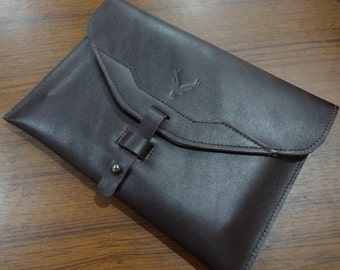 Leather envelope pouch bag