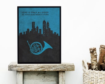 Blue French Horn How I Met Your Mother - Unique Wedding Gift - Robin How I Met Your Mother - TV Wall Art - Nursery Art - Tv Artwork