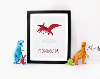 Dinosaur Print - Dinosaur Pun - Doctor Decor - Dinosaur Nursery - Dinosaur Playroom Decor - Instant Download - Digital Printable - 8x10