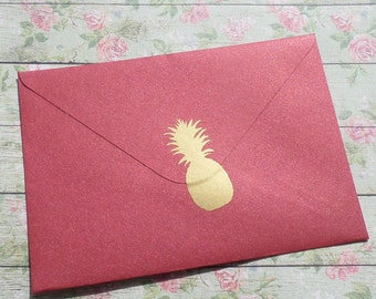 35 metallic gold Pineapple stickers, pineapple decals, pineapple envelope seal, removable wallpaper, Hawaii stickers, wedding invitation