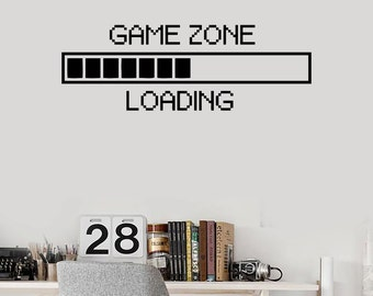 Wall Vinyl Decal Children's Room Decor Game Zone Loading Gamer Computer Game Play Room Decoration (#1107di)