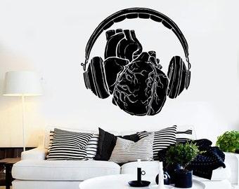 Wall Vinyl Music Headphones Heart Bedroom Guaranteed Quality Decal Mural Art 1571dz