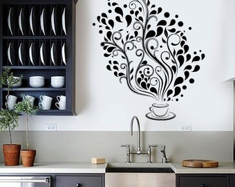 Wall Vinyl Decal Restaurant Kitchen Coffee Tea Flower Floral Decor 2389di